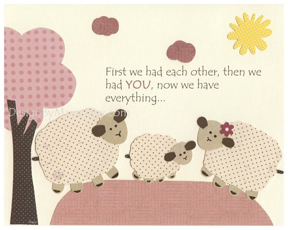 Baby girl, Nursery wall art print, Baby room decor, little sheep, lambie ...first we had each other..light pink, pale pink and cream..