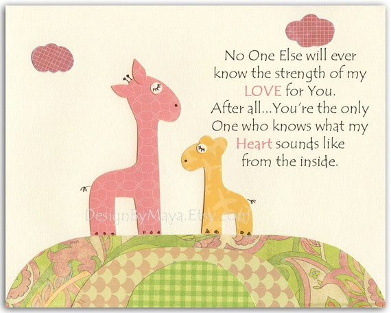 Nursery wall art print, Baby room decor, Giraffe ...No One...the strength of my LOVE For You.......Yellow green and pink