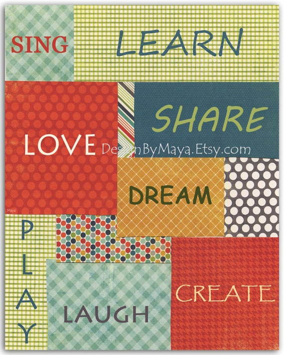 Word Wall Art For Nursery Decoration With The Words: Sing, Learn, Love, Share, Dream, Play, Laugh And Create // Print Size Is 8x10