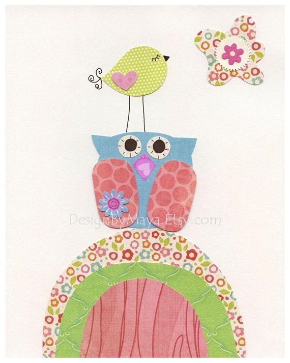 Nursery wall art Decor, Baby room art, Children Art, baby owl, bright pink, aqua, orange, match the colors of Caden lane finley bedding
