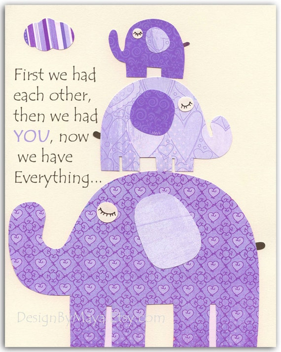 Purple Elephant Kids Room Decor - Wall Art Print Featuring 3 Elephants, Perfect Kids Room Decoration With Quote: First We Had Each Other