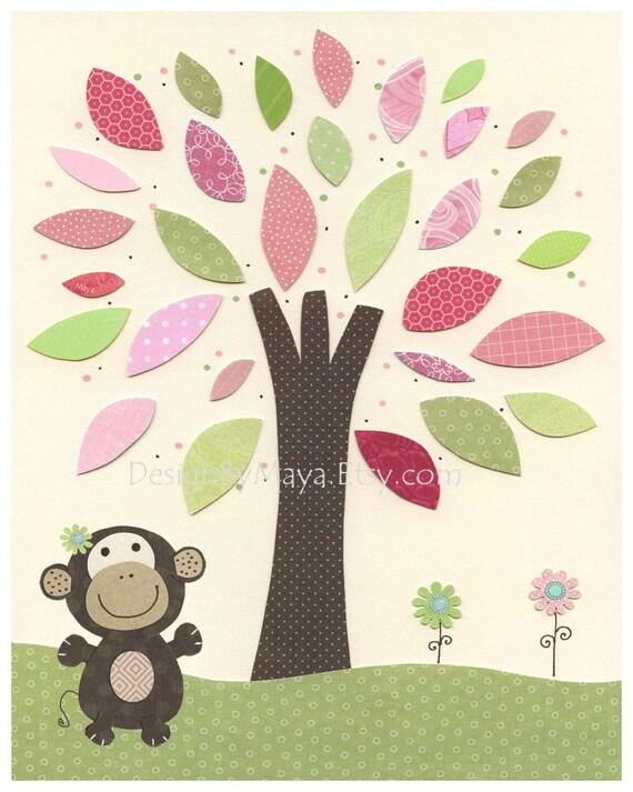 Etsy Girl Nursery Wall Decor : Baby girl room art nursery wall print monkey and tree