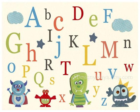 Baby room wall art, Nursery Art Decor, Kids Print, monsters...abc..blue, green, red, turquoise monster..baby boy nursery