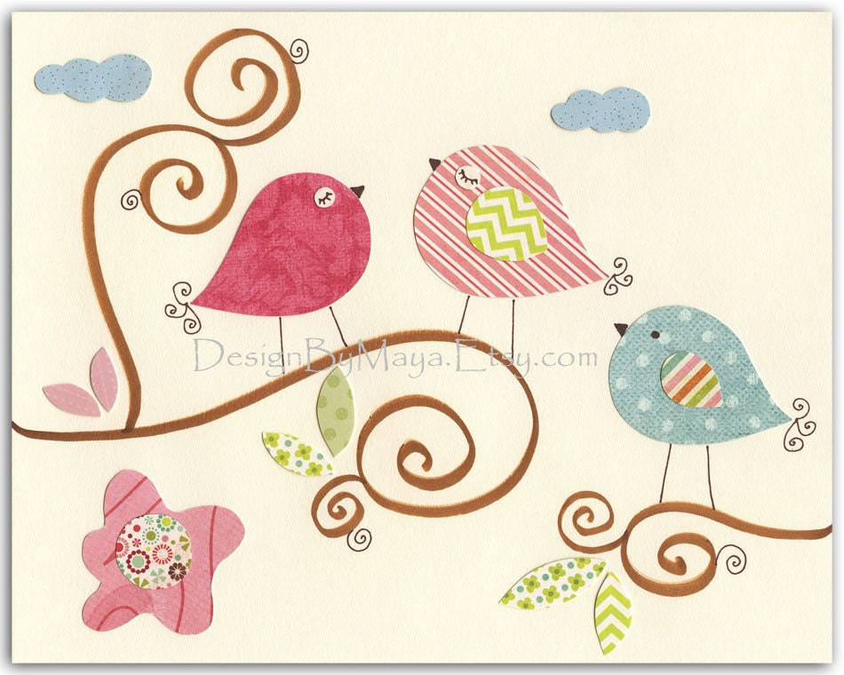 Baby girl room decor nursery art baby owl bird pastel for Baby girl wall decoration