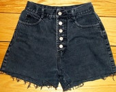Vintage Bongo Jeans Denim Shorts High Waist Button Fly Distressed  SIZE 3/4  PRIORITY SHIPPING
