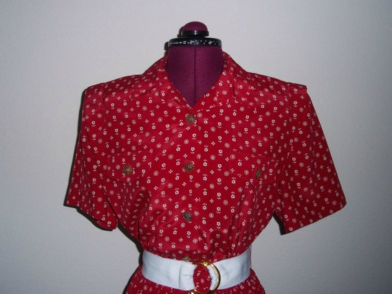 Vintage 70s Secretary Dress - Red With Little White Flowers - Leslie Fay - Priority Shipping