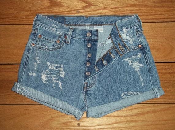 "Vintage LEVIS 501 Jean Shorts /  High Waist /  Distressed /  Cut Offs /  Button Fly / Tag Size 30/30 - 29"" Waist"