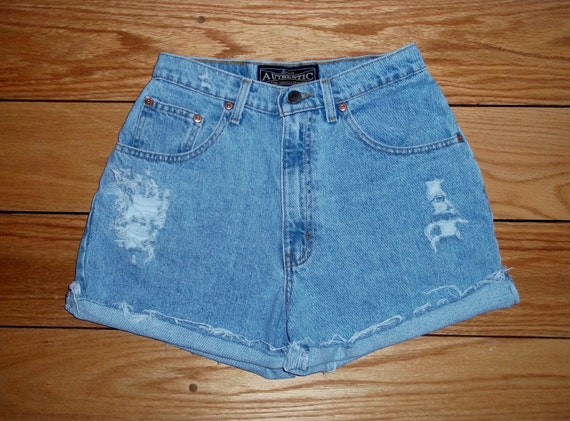 Vintage Authentic Jeans Denim Shorts High Waist Distressed - US Size 3/5 PRIORITY SHIPPING