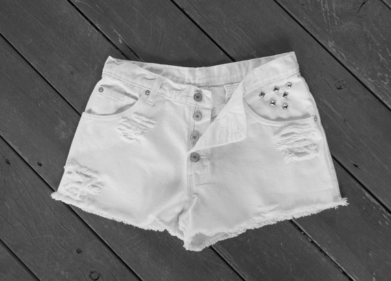 Vintage Jordache Jeans Denim Shorts High Waist Distressed White Button Fly Cut Offs Silver Studs - US Size 7/8/9 PRIORITY SHIPPING