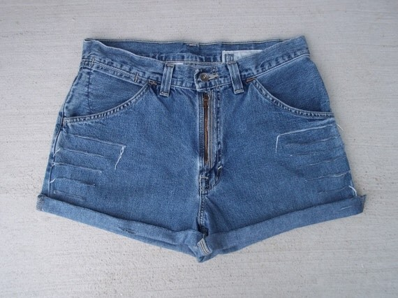 Clearance Sale - Denim Shorts High Waist Distressed Grunge Cut Offs - US Size 9/10/11 -30 - Priority Shipping