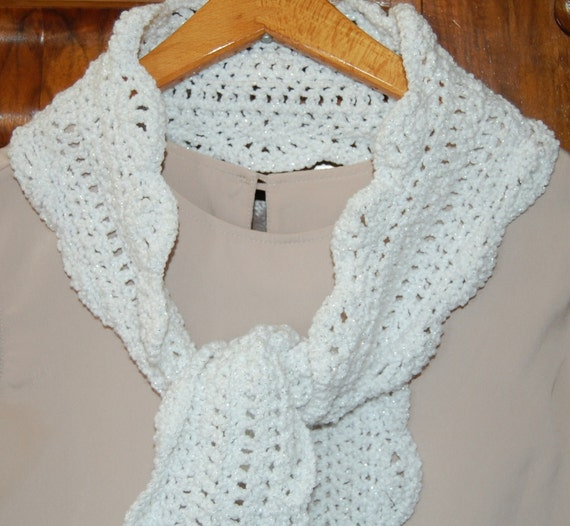 Crocheted White Scarf