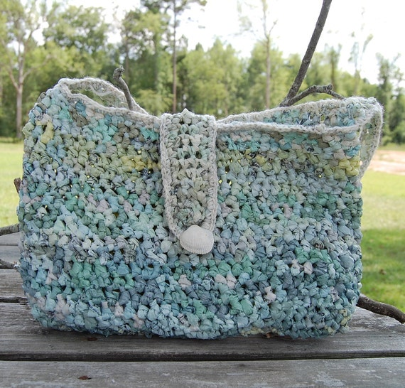 Green Crocheted Tote for the Beach or Market