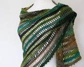 green gray black crochet shawl woodland lace triangle wrap neckwarmer scarf  winter for her wool light multicolor stripes