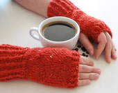 hand knit fingerless gloves - the coffee break hand knit fingerless mittens in tweed ginger red- mix of wool and angora