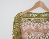 green beige stripes  shawl hairpin lace crochet wrap for her triangle light cotton fringe wrap neckwarmer  feminine summer for her