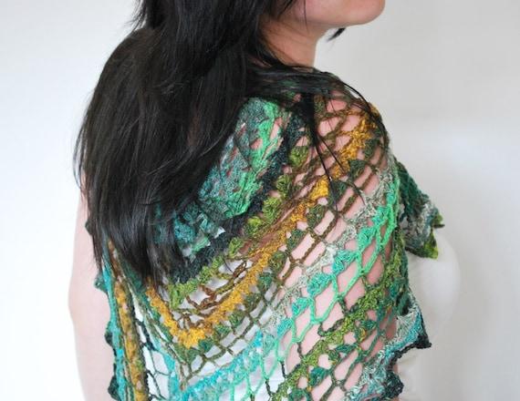 feminine crochet shawl in aqua green yellow mustard for her neckwarmer - 100% wool
