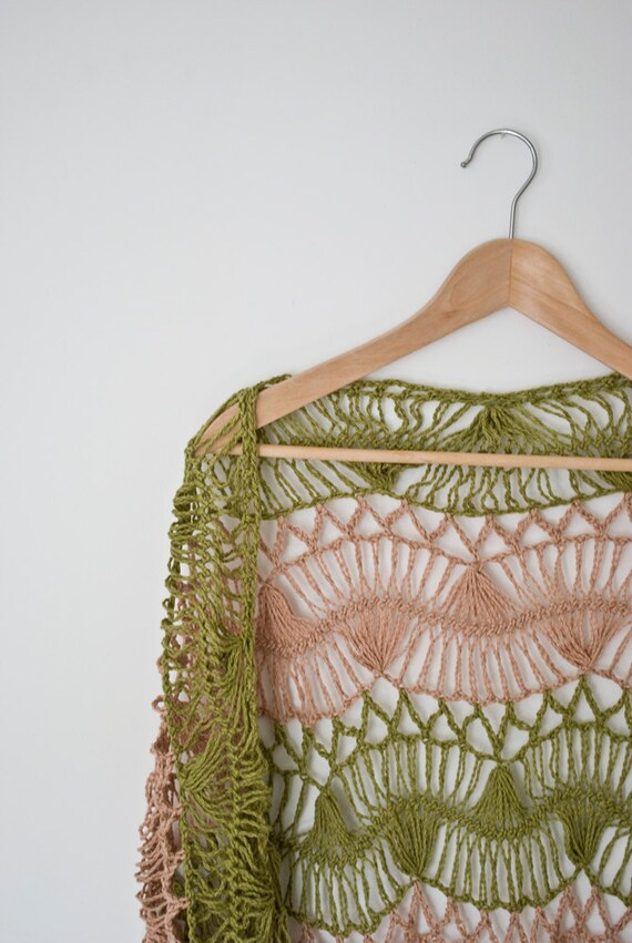 green beige stripes  shawl hairpin lace crochet wrap for her triangle light cotton fringe wrap neckwarmer  feminine summer for her