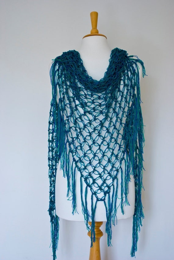 blue green shawl triangle crochet solomon's knot net wrap scarf acrylic  spring summer delicate for her