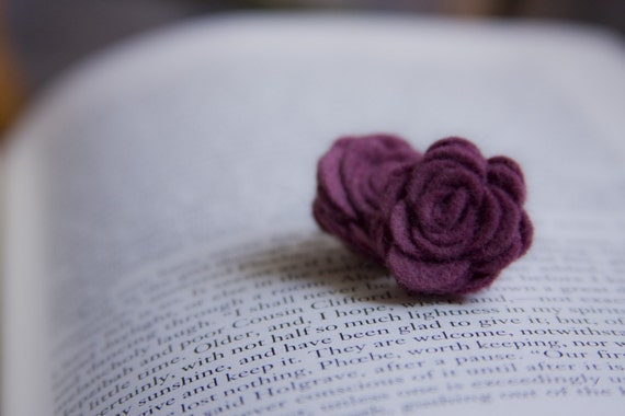 Indie Plum Wool Felt Rosette Earrings