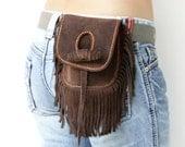 Hand Stitched Fringe Suede Hip Bag in Dark Brown