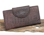 SALE, Hand Sewn Long Leather Wallet with Crocodile Print