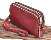 Leather Gadget Zipper Wristlet Pouch in Red- L size