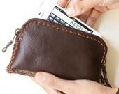 Leather Wallet / iPhone Case / Zipper Wristlet Pouch - L size