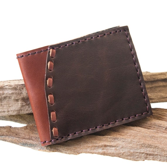 Buy 2 Get FREE Shipping, Men Leather Wallet, Hand Sewn in Dark Brown