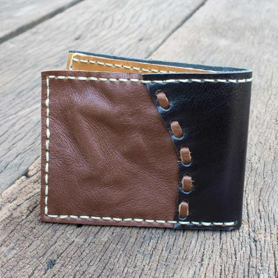 SALE, Hand Sewn Men's Leather Wallet in Dark Brown and Black