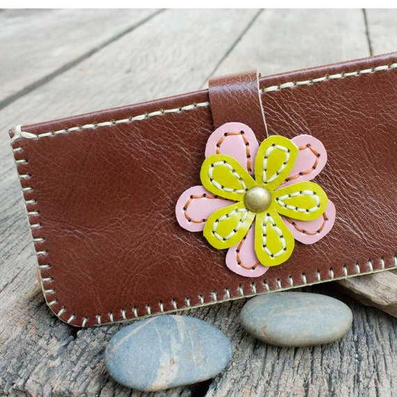 Hand Sewn Leather Women Wallet with Colorful Leather Flower