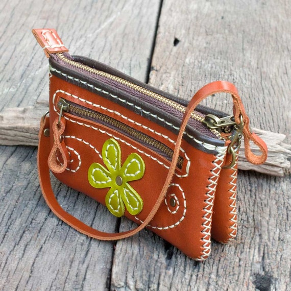 Zippered Leather Wristlet Pouch in Orange with Lemon green Flower - Hand Sewn