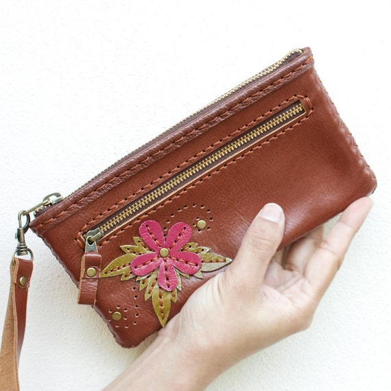 Leather Zipper Pouch with Flower in Brown - Hand Sewn