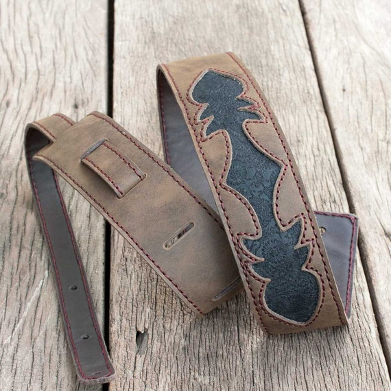 Hand Sewn Leather Guitar Strap in Dark Brown with Flower Print Embossed Inlay