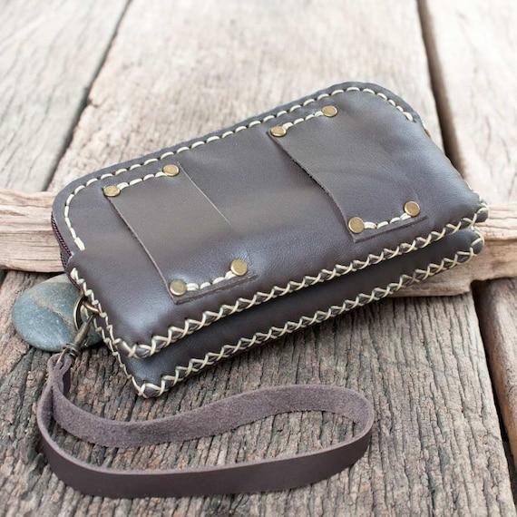 Leather Belt Bag/ Wristlet Pouch in Dark Brown