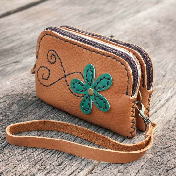 Zipper Leather Wristlet Pouch in Tan Brown with Flower , Hand Sewn