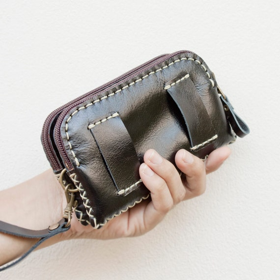Leather Belt Bag/ Wristlet Pouch in Black