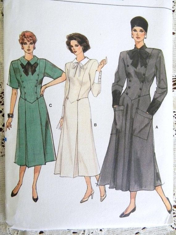 Vintage Vogue Pattern Womens Dropped Waist Dress Pockets 1986 UNCUT  9679  6-8-10