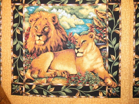 Lion Lioness Quilt Block Fabric Panel Jungle Cotton Bamboo Safari