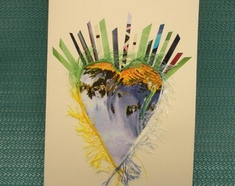 """Greeting card """"Radiating Heart"""" handmade for Mother's Day, Valentine's Day, I Love You, any occasion."""