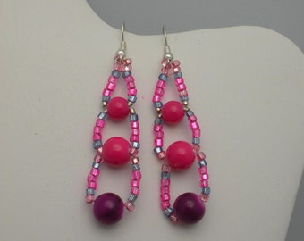 dangling earrings, purple glass beads, metalic seed beads for Mother's Day, any occasion.