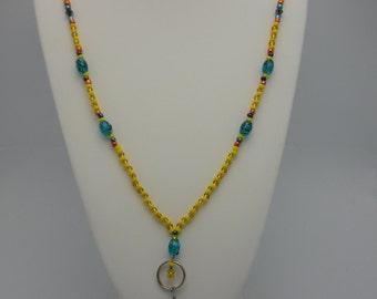 ID badge holder, interchangeable beaded ID necklace, jeweled lanyard.