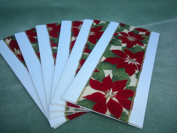 Greeting cards for Christmas, velvet ribbon with poinsettia, handmade each set  contains six cards and envelopes.