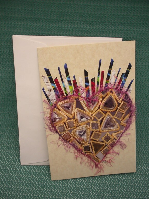 """Greeting card """"Heart of Jewels"""" handmade for Mother's Day, Valentine's Day, I Love you, any occasion"""