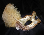 Feather Masquerade Mask in Tones of Ivory and Gold - Made to Order