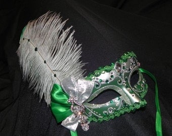 Emerald and Silver Feather Masquerade Mask