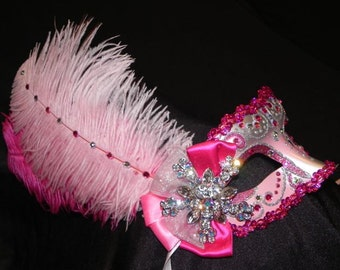 Shades of Pink and Silver Feather Masquerade Mask