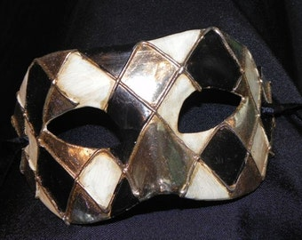 Black, Cream and Silver Harlequin Mask