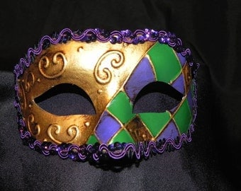 Purple, Green and Gold Harlequin Mask
