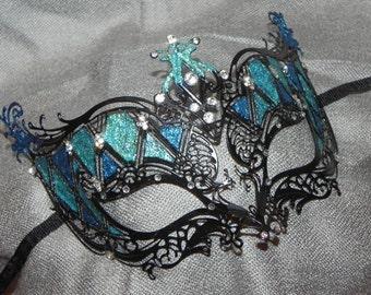 Shades of Turquoise and Black Metallic Masquerade Mask