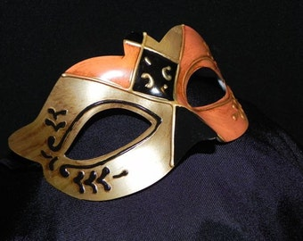 Orange, Black and Gold Teatro Mask